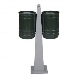 Метален парков кош двоен, модел 1 - 54 литра